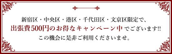 新宿区・中央区・港区・千代田区・文京区限定で、出張費無料のお得なキャンペーン中でございます!!この機会に是非ご利用くださいませ。